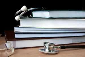 Stethoscope with books. Medical education concept